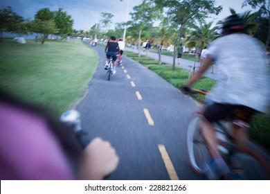Bike lanes for bicycles blur.