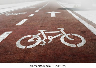 Bike lanes and white bike symbol