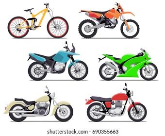 Bike and motorbike flat illustration set. Isolation on white background. Flat illustration