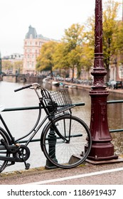 Bike next to a canal.