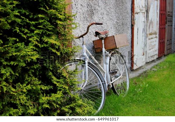 Bike On Background Old Doors Garden Stock Photo Edit Now
