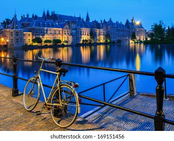 Bike on a canal in The Hague, close to Binnenhof