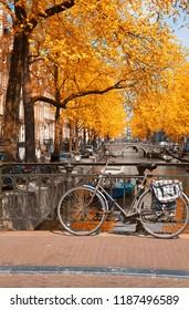 bike on canal ring bridge, Amsterdam