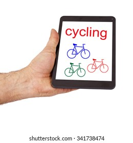 bike on the tablet held in the hand