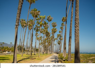 Bike path along the pristine coast of Santa Barbara