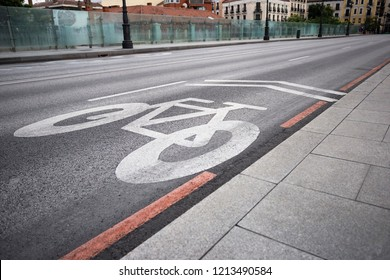 bike path (bicycle lane) sign on the road of the city
