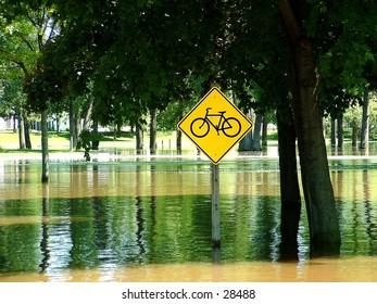 Bike path in the flood