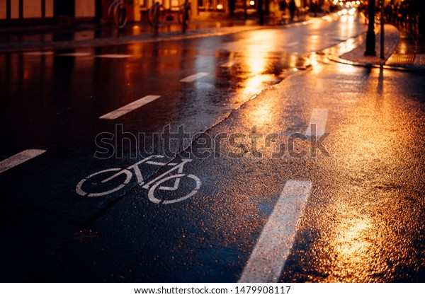 Bike path at night and in the rain