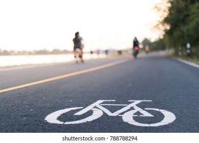 Bike path in the park in daylight,sunset
