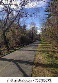 Bike path through wooded area