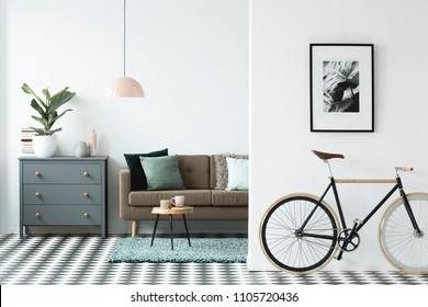Bike and poster on the wall in a modern living room interior with a chest of drawers, plant and sofa in the background