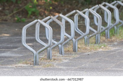 Bike rack in front of a dutch school
