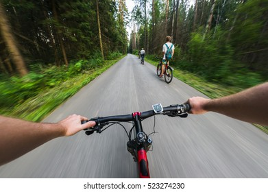 Bike ride in the forest. View from bikers eyes.