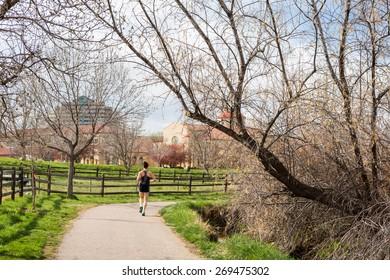 Bike ride in urban park on weekend.