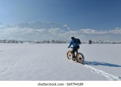 bike rides through the snowy mountains