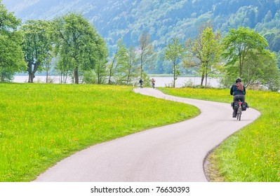 Bike road on Danube river in Austria