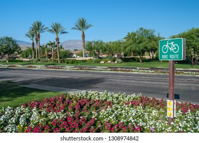 A bike route sign in Indian Wells near Palm Springs in Southern California.