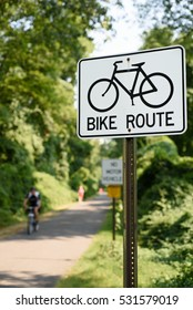 A bike route sign on the South County Trail in Ardsley, New York, Westchester County, USA on August 30, 2015.