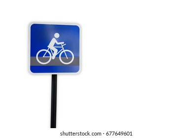 Bike route traffic sign template isolated on white background