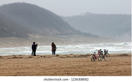 Bike and sea on the coast of the Agva in Istanbul