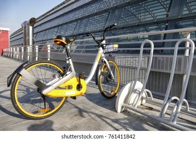 Bike sharing OBIKE innovative free floating no docking station system to lock the bycicle locker integrated to leave everywhere the bike Turin Italy November 20 2017