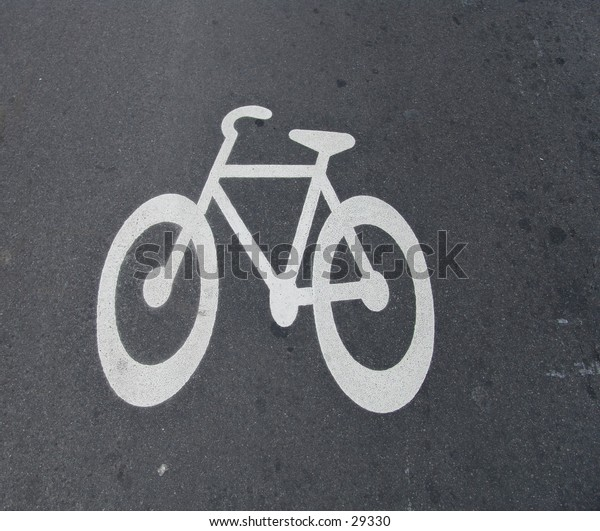 Bike sign painted on road