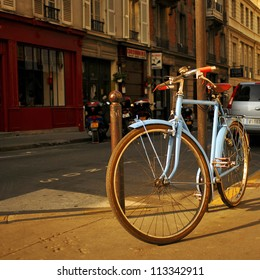 Bike standing on the street in Paris