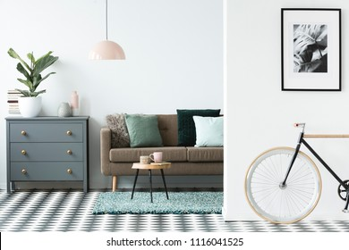 Bike standing in white open space living room interior with grey cupboard with potted plant and vases, brown lounge with pillows and pastel pink lamp