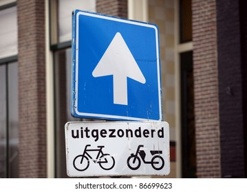 Bike trail sign in amsterdam, netherlands.