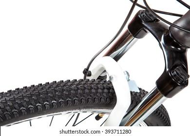 Bike wheel isolated on white background.