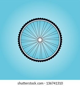 bike wheel with tire and spokes, raster