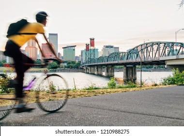 Biker and city of Portland