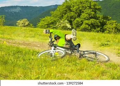 Biker crashing bicycle accident