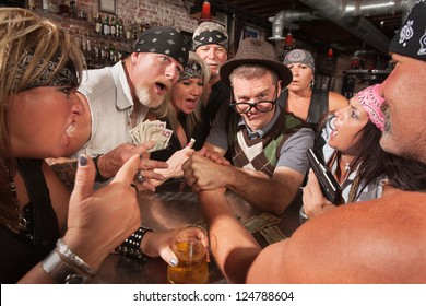 Biker gang gambling in nerd arm wrestling match