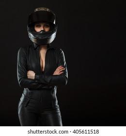biker girl posing in studio