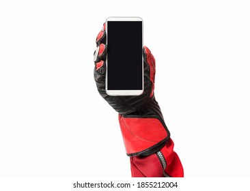 Biker hand holding smartphone with blank screen cropped image and copy space