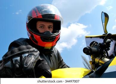 Biker in helmet portrait