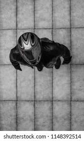biker in helmet, top view
