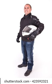 Biker holding his helmet under his arm on a white background