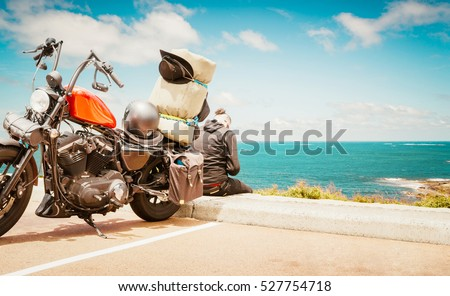 Biker man wearing a