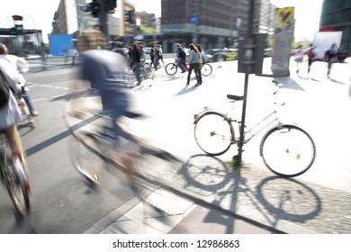 biker on downtown pedestrian overpath