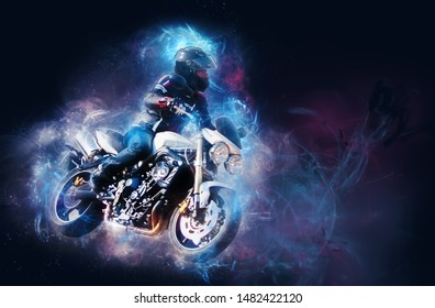 biker on his motorcycle with cosmic effect.