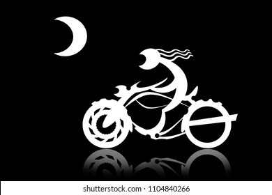 Biker on motorcycle racing with the moon