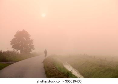 biker on the road at misty sunrise, Netherlands