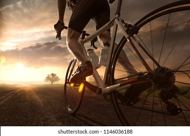 Biker rides into sunset