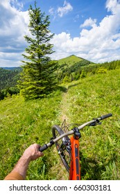 Biker is riding uphill. Carpathian mountains.