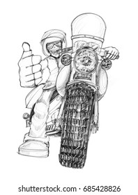 Biker showing finger symbol like and great, Hand drawing has pencil texture on paper black and white isolate.