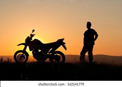 Biker in sunset