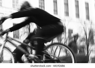 biker training in the street