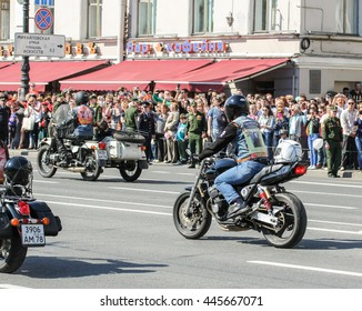"""Bikers in action """"Immortal regiment."""" St. Petersburg, Russia - 9 May, 2016. Holiday-action """"Immortal regiment"""" taking place in St. Petersburg on Nevsky Prospect."""